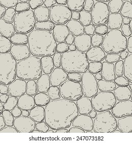 Seamless pattern with stones. Vector background with h pebble