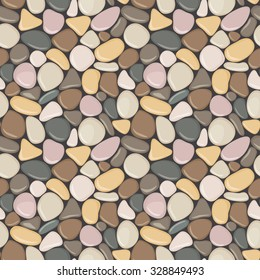 Seamless pattern with stones. Vector seamless background with smooth pebble. Colorful seaside wet pebble vector illustration. Spa stones flat design.