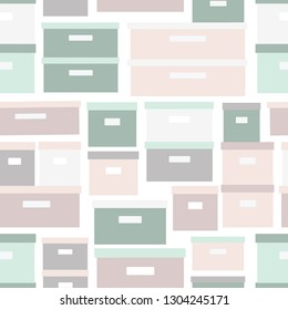 Seamless pattern storage boxes. Stacked cardboard storage boxes with closed lid background in pastel colors. Vector illustration closet organization. Tidy up. Declutter and tidying up concept