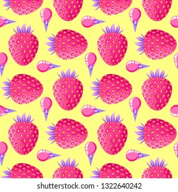 Seamless pattern with strawberries and ice cream on yellow background. Surface pattern.It be perfect for fabric, wrapping,packaging, digital paper and more.