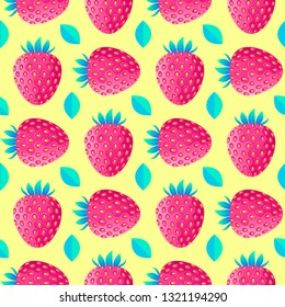 Seamless pattern with strawberries and leaves on yellow background. Surface pattern.It be perfect for fabric, wrapping,packaging, digital paper and more.