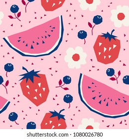 seamless pattern with strawberries, watermelons, blueberries and flowers
