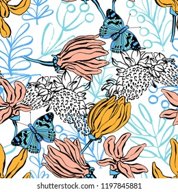 Seamless pattern with strawberry , butterfly, lilium, ylang, roses, carnation flowers. Colorful vector illustration. Print for home textile and clothes, fabric, textile