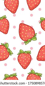 Seamless pattern of strawberry cartoon and pink polka dot. This vector illustration is for Wallpaper mobile phone, craft paper, web design, wall decor, scrapbook, wrapping paper, patterns, etc.