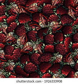 Seamless pattern of strawberry, cartoon style, pink, berry, red, nature, organic, natural, berry, shop, gastronomy, eat, meal, eating, food, seamless, backdrop, summer, ossicle, seamless background