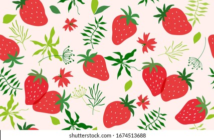 Seamless pattern with strawberry. Vector hand draw strawberry background  for wallpaper, cover, fabric, textile