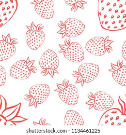 Seamless pattern with strawberry. Vector illustration of a seamless pattern of strawberries. Hand drawn strawberry.