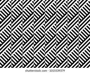 Seamless pattern with striped black white diagonal lines (zigzag, chevron). Rhomboid glume. Optical illusion effect. Geometric tile in op art. Vector illusive background. Futuristic vibrant design.