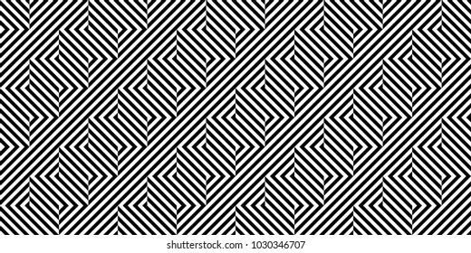 Seamless pattern with striped black white diagonal inclined lines (zigzag, chevron). Optical illusion effect, op art. Vector vibrant decorative background, texture.