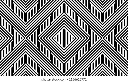 Seamless pattern with striped black white straight lines and diagonal inclined lines (zigzag, chevron). Optical illusion effect, op art. Background for cloth, fabric, textile, tartan.