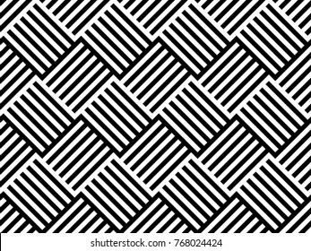Seamless pattern with striped black white diagonal lines (zigzag, chevron). Rhomboid scales. Optical illusion effect. Geometric tile in op art. Vector illusive background. Futuristic vibrant design.