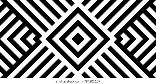 Seamless pattern with striped black white diagonal lines zigzag chevron rhomboid scales