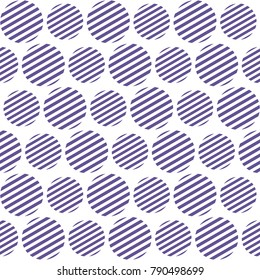 Seamless pattern with striped circles. Abstract geometrical background in trendy colors. Stylish white and ultra violet grid texture.