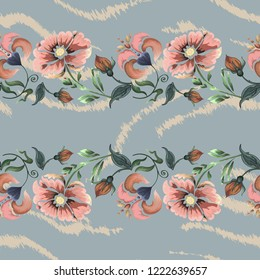 Seamless pattern striped skin of a tiger and flowers.