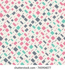 Seamless pattern with striped squares. Repeating vector pattern. Hand drawn image.