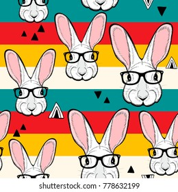 Seamless pattern with stripes and white rabbits in retro colors. Vector creative background.