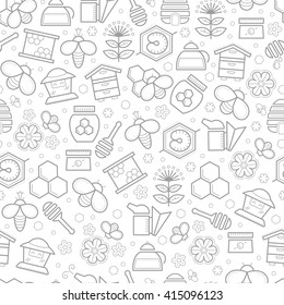 Seamless pattern with stroked beekeeping signs - honey bees, bee cells, beehives, plants and  flowers. Beekeeping endless texture for business. Monochrome