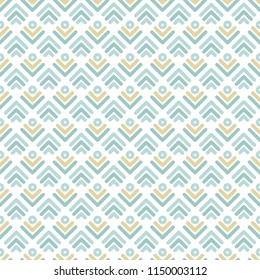 Seamless pattern with strokes and circles on white background. Ethnic boho symmetric background. Morrocan pattern. Geometric texture. Mosaic plaid. Checkered vector illustration. Turquoise and gold