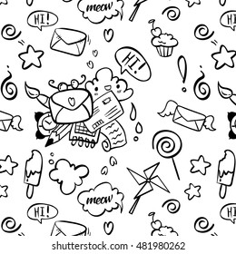 Seamless pattern in the style of doodle art. Here, envelopes, notebook, pencils, candy, ice cream, speech bubbles and other little things that lift your mood.