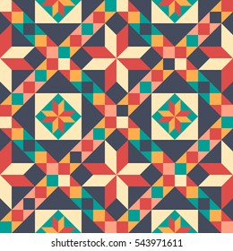 Seamless pattern in style of patchwork, vector illustration.