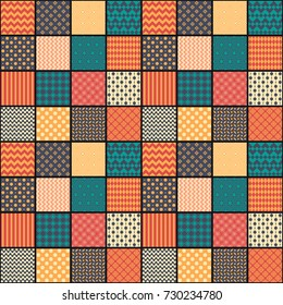 Seamless pattern in style of patchwork, vector illustration. Each square of the pattern is also seamless backgrounds. Set of backgrounds.