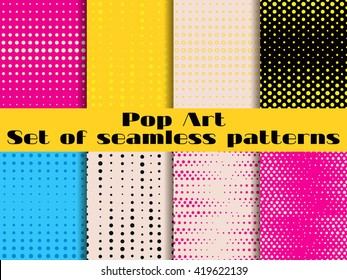 Seamless pattern in the style of pop art with dots. Vector illustration.