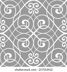 Seamless pattern of the stylish lines and curls. Decorative lattice.