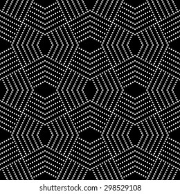 Seamless pattern. Stylish modern geometric texture. Repeating polygonal shapes, dotted lines, rhombuses. Monochrome. Backdrop. Web. Vector element of graphic design