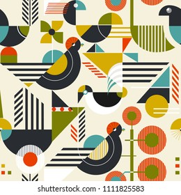 Seamless pattern with stylized birds in retro bauhaus style