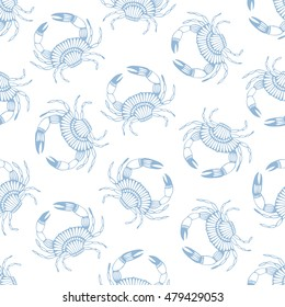 Seamless pattern with stylized crabs. Can be used for invitations, greeting cards, print, gift wrap. Sea food theme.