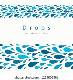 Seamless pattern with stylized drops on a light background. Blue water abstract vector background.