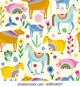 Seamless pattern with stylized farm animals and flowers on a yellow background. Vector background with horse, sheep, goat, pig and cow.