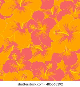 Seamless pattern of stylized floral motif, flowers, hole, spots, doodles. Vector hibiscus flowers in orange colors. Hand drawn. Seamless floral background.