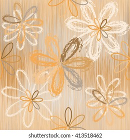Seamless pattern with stylized flowers on grunge striped background in beige,brown,white colors