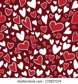 Seamless pattern of stylized hearts on chocolate background.