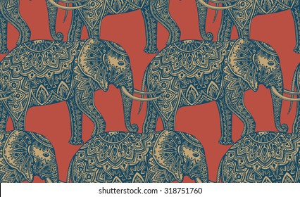 Seamless pattern with stylized ornamental elephants in Indian style. Vector endless background
