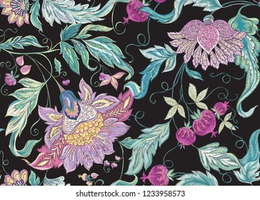 Seamless pattern with stylized ornamental flowers in retro, vintage style. Imitation of Jacobin embroidery. Vector illustration In soft In pink, blue, ultraviolet colors. Isolated on black background.