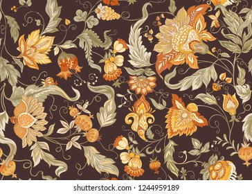 Seamless pattern with stylized ornamental flowers in retro, vintage style. Jacobin embroidery. Colored vector illustration In soft orange and green colorson brown background