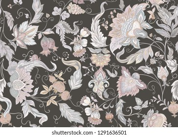 Seamless pattern with stylized ornamental flowers in retro, vintage style. Jacobin embroidery. Colored vector illustration. In vintage grey and beige colors. On brown background.