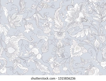 Seamless pattern with stylized ornamental flowers in retro, vintage style. Jacobin embroidery.  In soft grey colors.  Colored and outline design. Vector illustration.