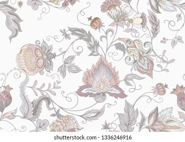 Seamless pattern with stylized ornamental flowers in retro, vintage style. Jacobean embroidery. Colored vector illustration. In vintage grey and beige colors. Isolated on white background.