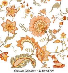 Seamless pattern with stylized ornamental flowers in retro, vintage style. Jacobin embroidery. Colored vector illustration Isolated on white background.  In soft orange and green colors