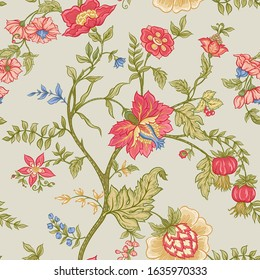 Seamless pattern with stylized ornamental flowers in retro, vintage style. Jacobin embroidery. Colored vector illustration on beige grey background.