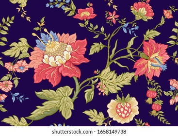 Seamless pattern with stylized ornamental flowers in retro, vintage style. Jacobin embroidery. Colored vector illustration on blue background.