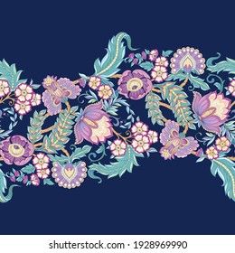 Seamless pattern with stylized ornamental flowers in retro, vintage style. Jacobin embroidery. Colored vector illustration isolated on white background.