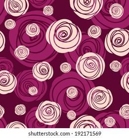 Seamless pattern of stylized roses