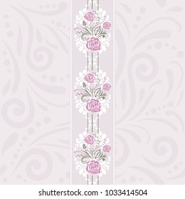 Seamless pattern with stylized roses for scrapbook cover. Vector