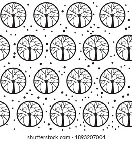 Seamless Pattern, stylized round trees, black on transparent, swatch included