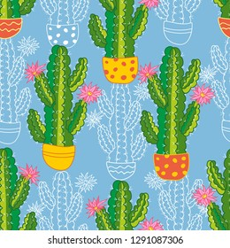 seamless pattern of succulent and cactus on a blue background. vector botanical illustration