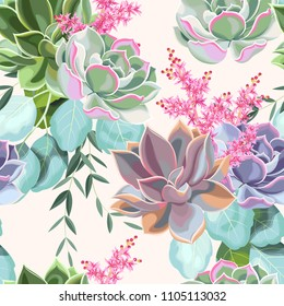 Seamless pattern with a succulents